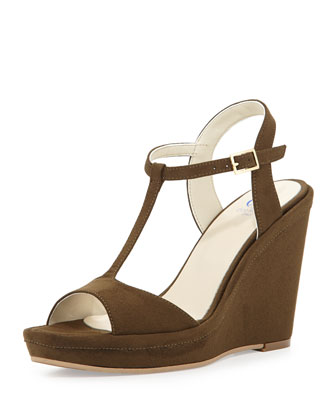 Deanne Suede T-Strap Wedge Sandal, Olive