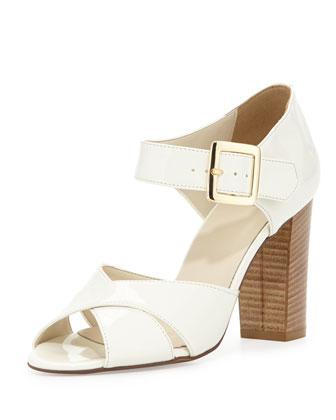 Harper Patent Crisscross Sandal, Cream