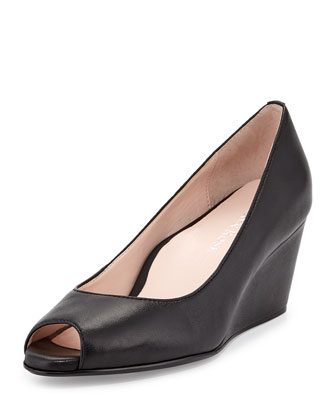 Kimberly Leather Peep-Toe Wedge, Black