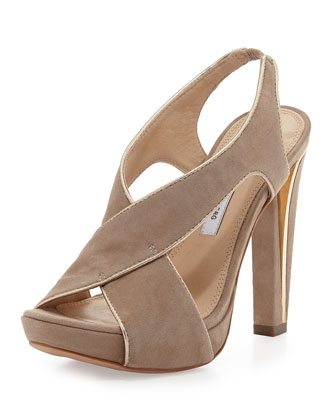 Julia Suede Platform Sandal, Honey Wheat