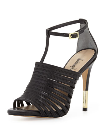 Vera Strappy Leather Sandal, Black