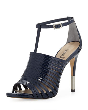 Vera Strappy Leather Sandal, Navy