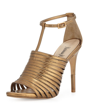 Vera Strappy Leather Sandal, Antique Gold