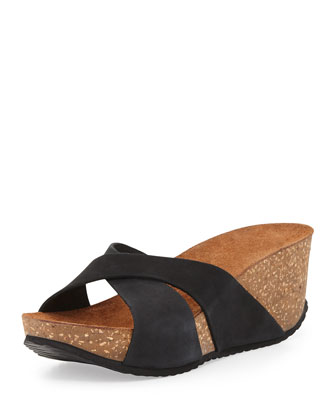 Mirabel Crisscross Nubuck Wedge Sandal, Black