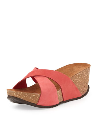 Mirabel Crisscross Nubuck Wedge Sandal, Red