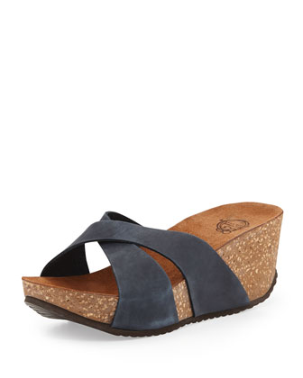 Mirabel Crisscross Nubuck Wedge Sandal, Navy