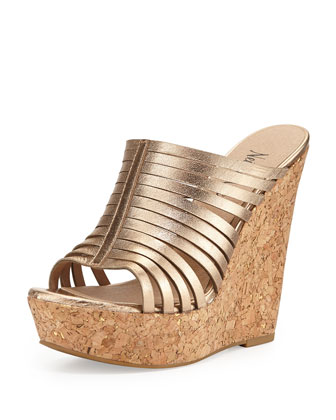 Leroy Strappy Metallic Slide-On Wedge, Platinum Gold