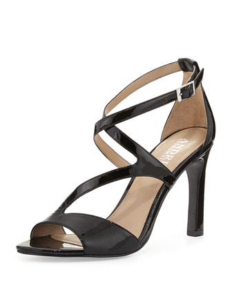 Dina Strappy Patent Leather Sandal, Black