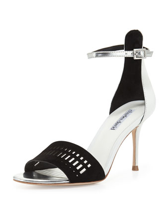 Margie Suede-Cutout Leather Sandal, Black/White
