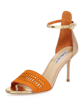 Margie Suede-Cutout Leather Sandal, Orange/Nude