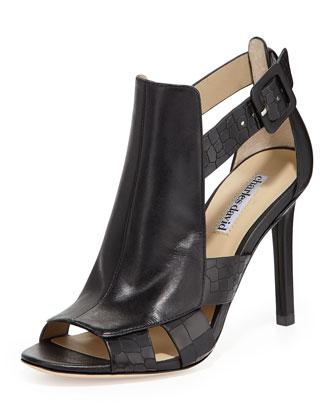 Immune Croc-Print Glove-Strap Sandal, Black
