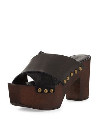 Mania Strappy Suede/Leather Sandal, Black