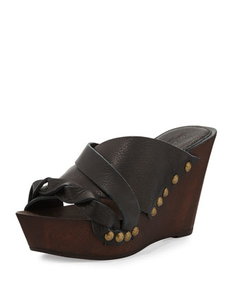 Menum Braided Leather Wedge Sandal, Black