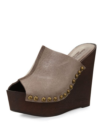Recchia Leather Woodgrain Sandal Wedge, Taupe