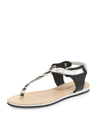 Marilena Zebra-Print Calfhair Thong Sandal, Black