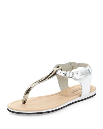 Marilena Zebra-Print Calfhair Thong Sandal, White
