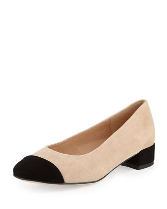 Veronice Cap-Toe Low-Heel Pump