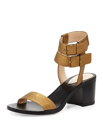 Dagney Metallic Leather City Sandal, Brass