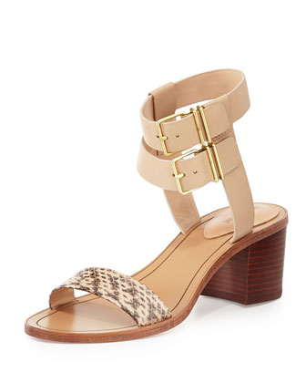 Dagney Double-Wrap City Sandal, Nude