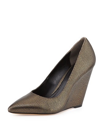 Metallic Lizard Dress Wedge, Bronze