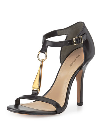 Yolanda Golden T-Strap Dress Sandal, Black