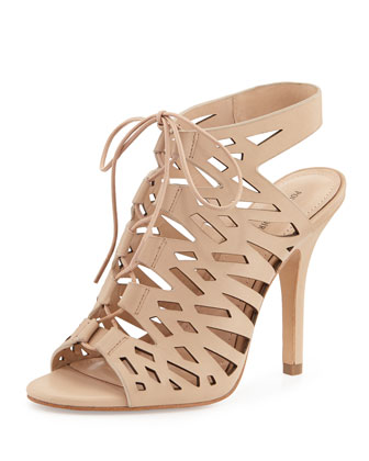 Yermak Laser-Cut Lace-Up Cage Sandal, Nude