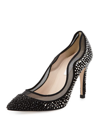 Faye Ombre Crystal Suede Pump, Black