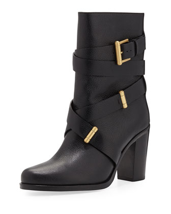 Leona Leather Mid-Calf Boot, Black