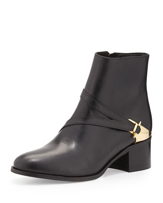 Nell Crossover Spike-Buckle Ankle Boot, Black