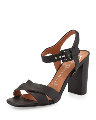 Cermak Mid-Heel Leather Sandal