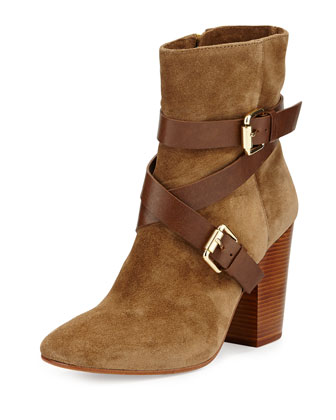Pacey Harness Buckle Bootie, Dark Brown