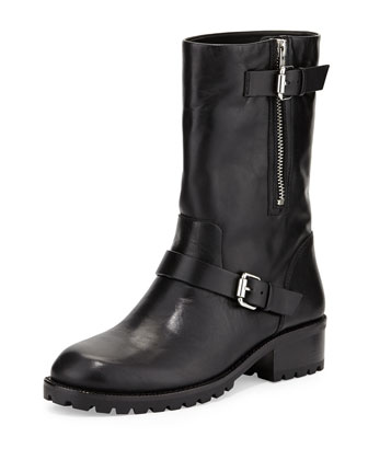 Riona Leather Moto Boot, Black