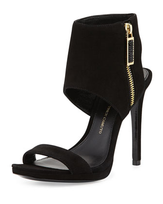 Shaylee High-Heel Suede Dress Sandal, Nero