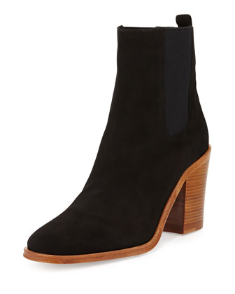 Sarla Suede Stretch-Gore Ankle Boot, Nero