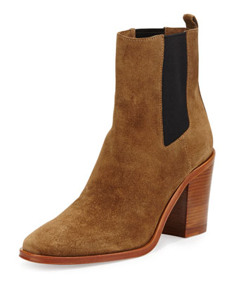 Sarla Suede Stretch-Gore Ankle Boot, Tobacco