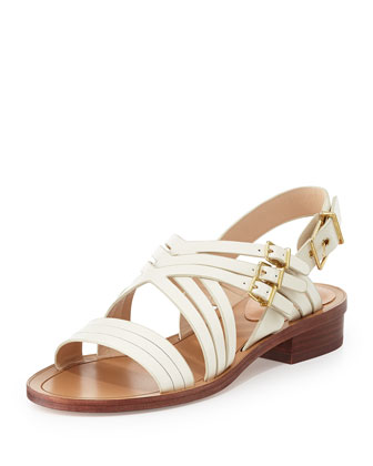 Strappy Leather Flat Sandal, Off White