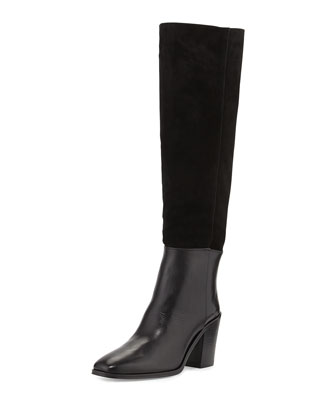 Sukey Suede Shaft Knee Boot, Nero (Black)
