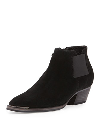 Fetch Suede Ankle Bootie, Black