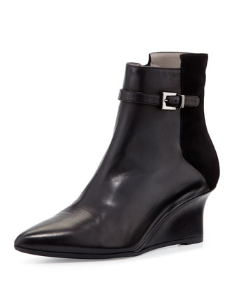 Deniz Leather Wedge Bootie, Black