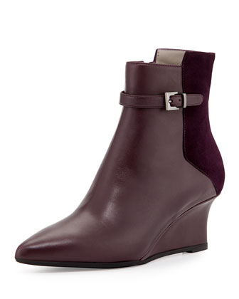 Deniz Leather Wedge Bootie, Plum