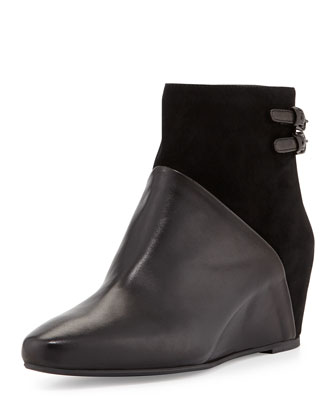 Petunia Mixed-Leather Wedge Boot