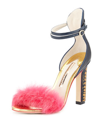 Nicole Ostrich & Rabbit Fur Sandal, Hot Pink