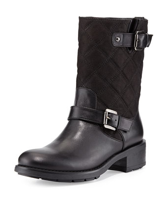 Sherry Quilted Moto Boot, Black