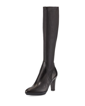 Rhumba Stretch Leather Knee Boot, Black