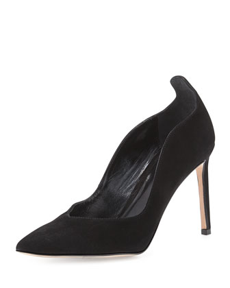 Brie Point-Toe Kid Suede Pump, Black