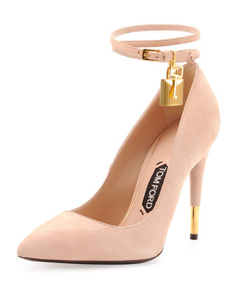 Suede Ankle-Lock Pump, Wild Rose