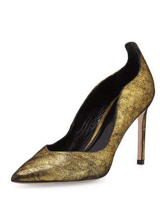 Brie Point-Toe Kid Suede Pump, Gold