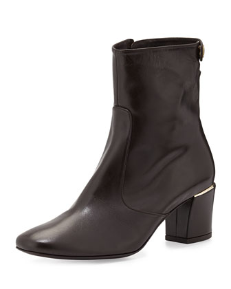 Cryss Mid-Heel Bootie, Dark Brown