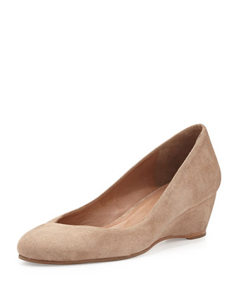 Doll Suede Demi-Wedge Pump, Camel