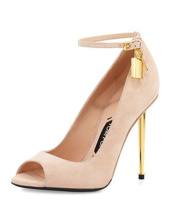 Suede Open-Toe Ankle-Lock Pump, Nude
